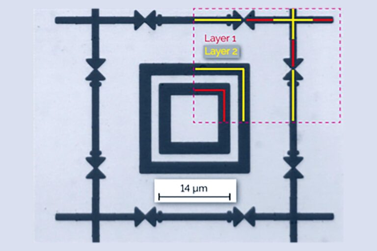 A test pattern exposed with a DWL 2000 shows accurate alignment of elements exposed in two subsequent layers (arrows, crosses, arrow tips). Alignment is a crucial parameter for multilayer lithography applications, such as sensors and semiconductor devices. (Courtesy of Heidelberg Instruments)