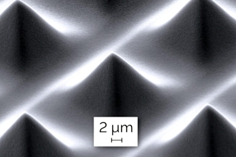 A diffuser comprising pyramids with 15 µm height and 20µm base length in AZ4620 resist. Such structured surfaces created by Grayscale Lithography are key elements for microoptics applications. (Courtesy of Heidelberg Instruments)
