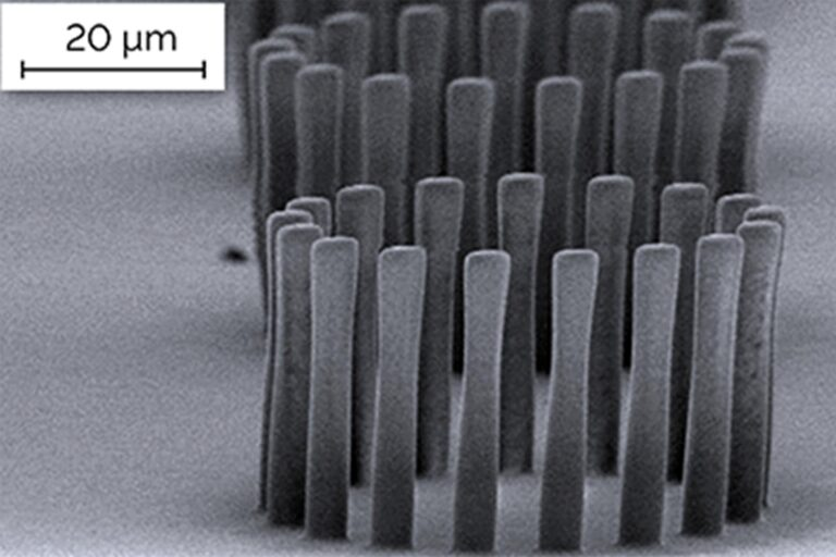 MR-DWL is a special negative resist that enables high-aspect ratio structures with an aspect ratio of up to 1:40. This epoxy-based photoresist from micro resist technology GmbH is specifically optimized for direct-write lithography and DWL systems. It is sensitive above 400 nm and can be applied in a thickness up to several hundreds of microns. (Courtesy of V. Cadarso and J. Brugger, EPFL)