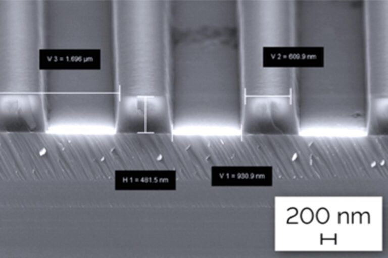 A grating fabricated using DWL 2000 in 500 nm of Shipley S1805. The groove density is 600 lines/mm with the resulting optical gratings having a wave-front error of ± 25 nm. In effective optical gratings, the wave front error must be smaller than λ / 10. Such structures are used in spectrometers, monochromators, lasers, and other devices. (Courtesy of Heidelberg Instruments and Berkeley Laboratories)