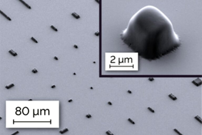 """Specific patterning of """"OSTEmers"""" retinal implants shows an example of novel medical implants. Bio-compatible, impermeable, and UV-curable OSTEmers are highly promising for artificial retinae. Contactless exposure with MLA150 enables the patterning of this material, which is a viscous liquid during processing, and is virtually impossible to work with using other lithography tools.  (Courtesy of EPFL, Laboratory of NeuroEngineering)"""