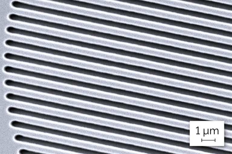 The image shows 500 nm tilted lines and spaces; a key element of major relevance to many applications like processors, printed circuits, and structures in photonics, for example optical grids. (Courtesy of Heidelberg Instruments)