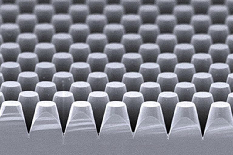 A full 150-mm-wafer filled with a hexagonal pillar array. In such 2D replication master, no visible stitching errors are allowed. The resulting circular structures have a diameter of around 1.7 μm at the top and around 3 μm at the pitch. (Courtesy of IMS Chips)