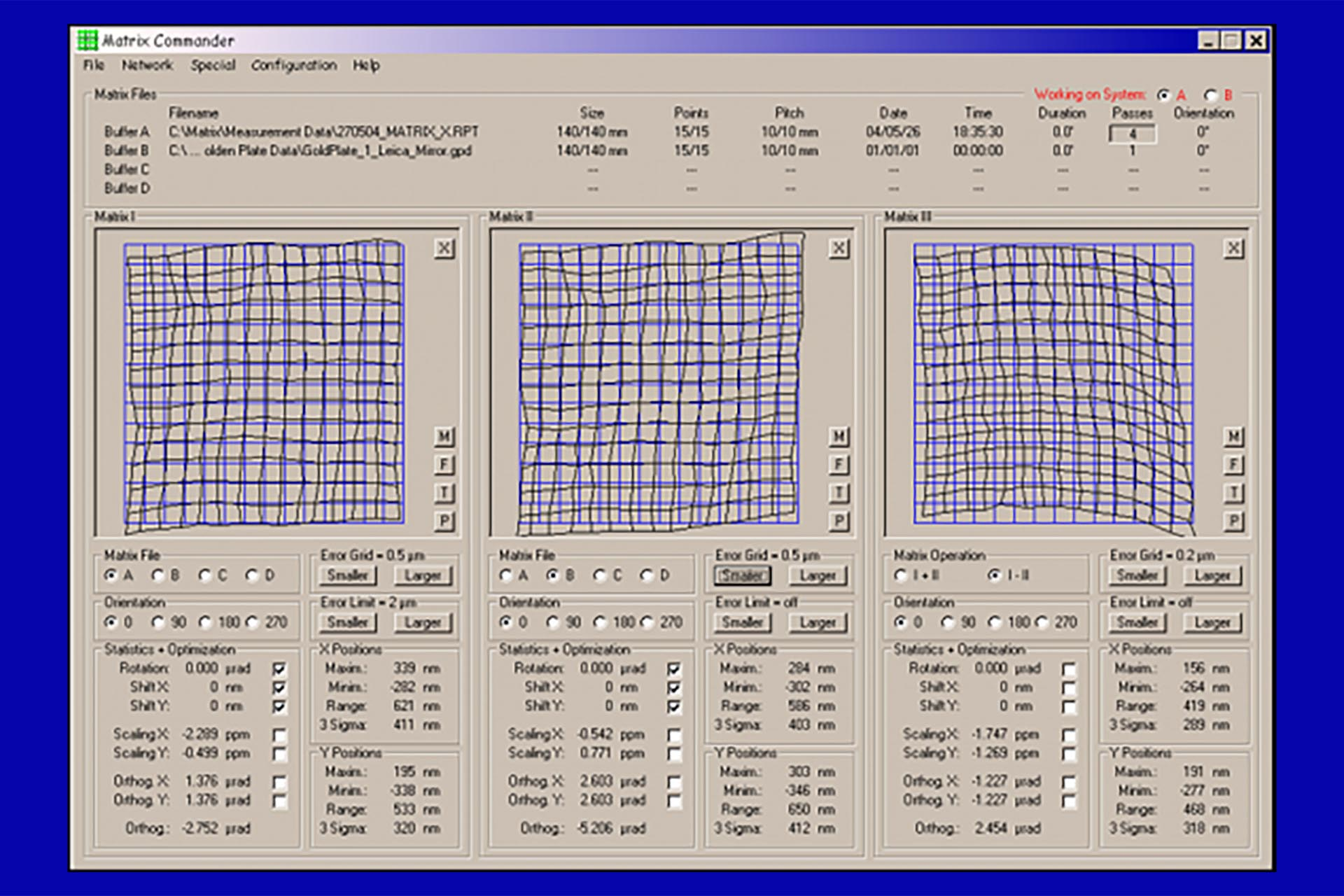 A position correction matrix (KOMA) is calculated in the software based on measurements with a well-calibrated reference plate (golden plate). This enables corrections for e.g. slightly warped or non-flat interferometer mirrors.