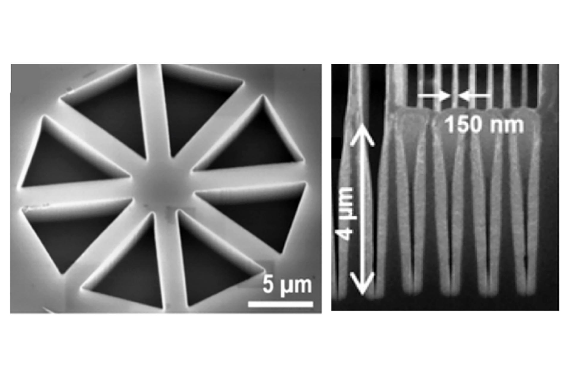 High-resolution features written 35nm-deep into PPA using the NanoFrazor Explore and amplified to 4-µm-depth in Si using two reactive ion etching steps. (Courtesy LMIS1 at EPFL, publication Lisunova MEE 2017)