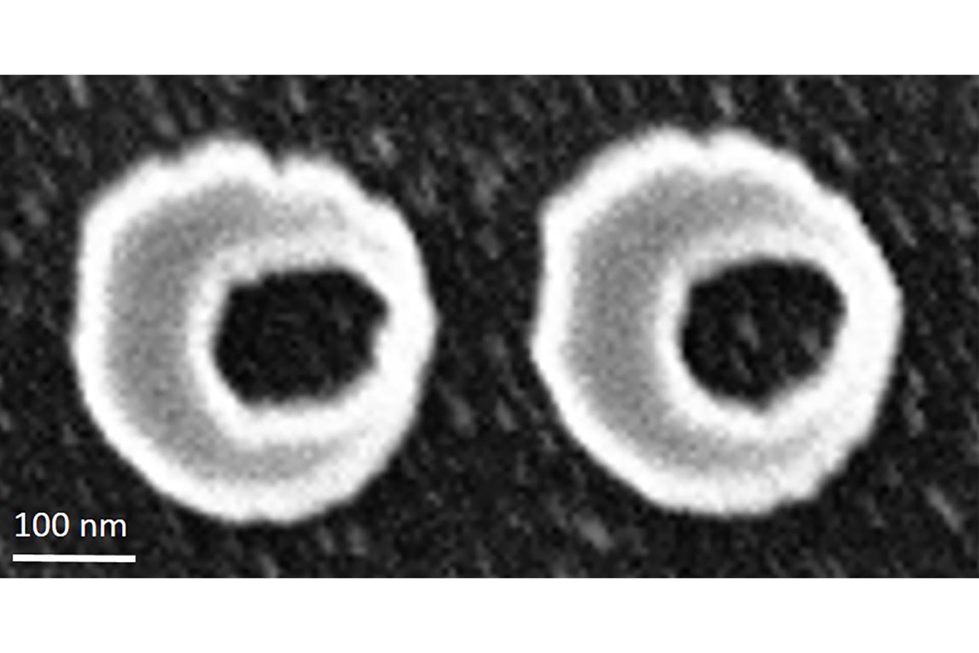 High-resolution asymmetrical rings transferred into a gold film via ion beam etching (Courtesy of Heidelberg Instruments Nano)