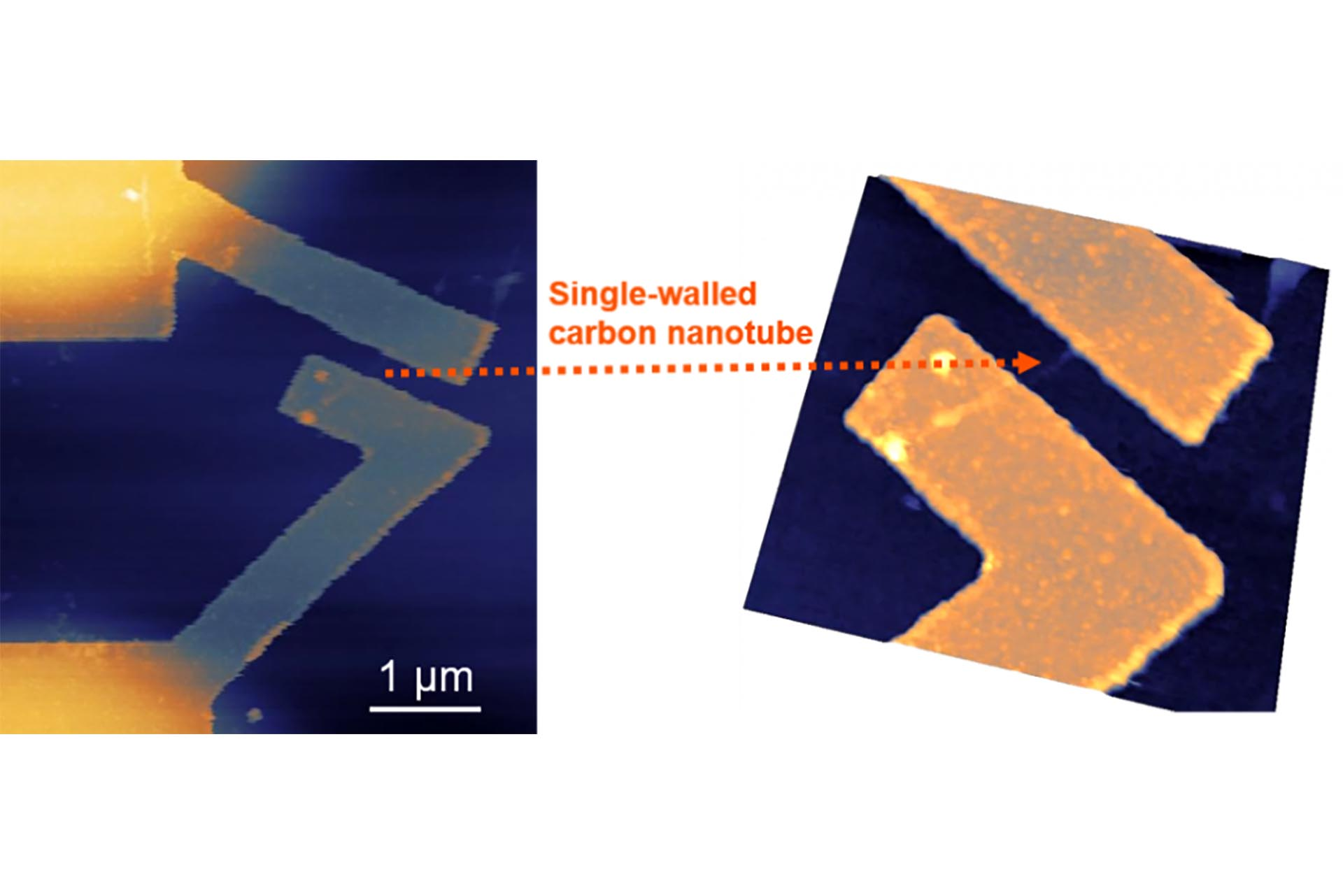 Contacts to single-walled carbon nanotubes (SWNTs) using NanoFrazor lithography. (Courtesy of Prof. Tai-Cheng Lee, NTU, Taiwan)