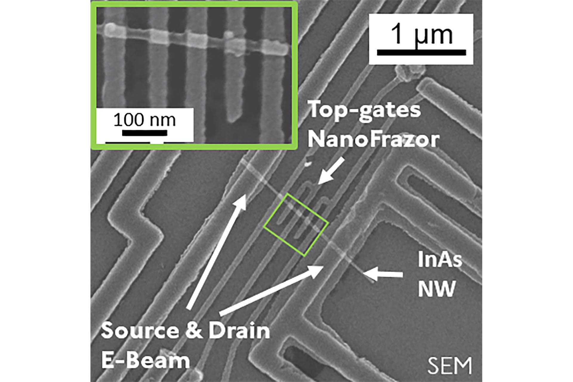 Indium arsenide (InAs) nanowire device with high resolution top gates fabricated by NanoFrazor lithography. (Courtesy of IBM Research Zurich, publication 2019)