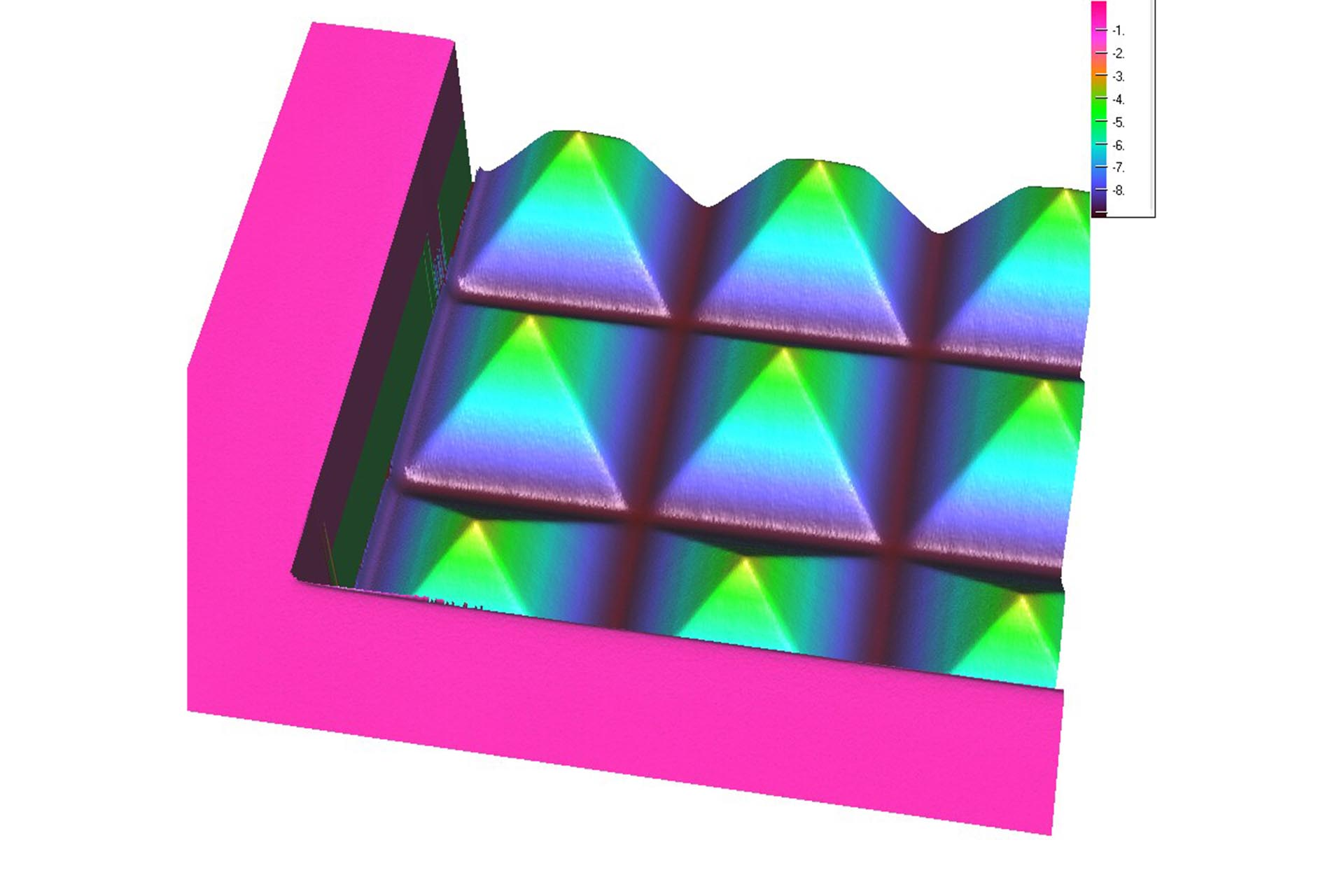 Confocal microscope image of a pyramid (pitch 47 µm, height 5.8 µm)
