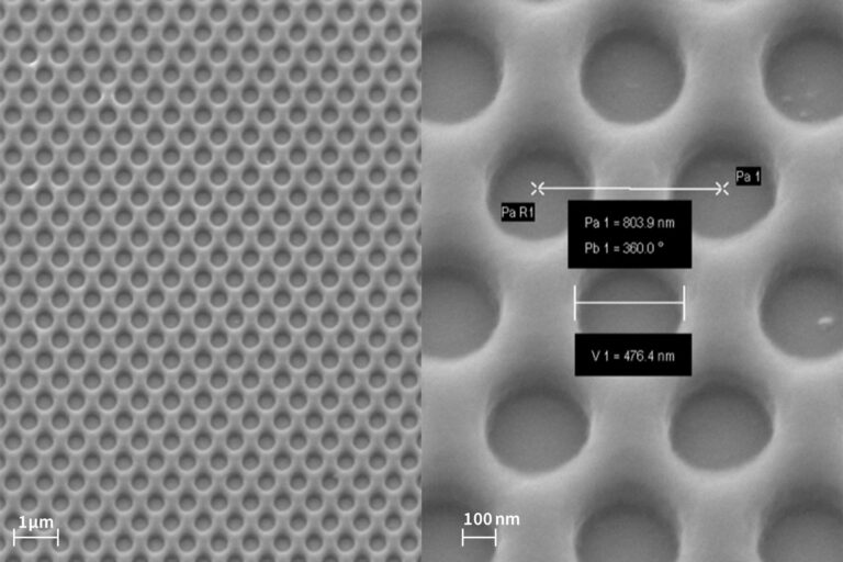 500nm holes with high density in IP3250 resist on Si Wafer. Uniformity of the exposure. (Courtesy of Heidelberg Instruments)